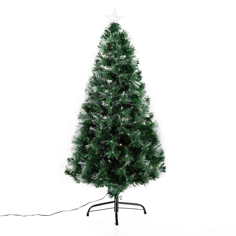 HomCom Arbol de Navidad Altura 120 cm + Estrella y Fibra Optica de 7 ...