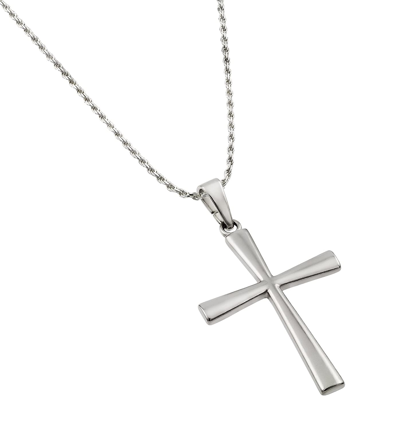 Amazon 2 inches large plain sterling silver cross pendant amazon 2 inches large plain sterling silver cross pendant with 24 inch sterling silver 15mm rope chain womens necklaces jewelry aloadofball Images