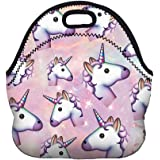 Boys Girls Kids Women Adults Insulated School Travel Outdoor Thermal Waterproof Carrying Lunch Tote Bag Cooler Box Neoprene Lunchbox Container Case (Many Unicorns)