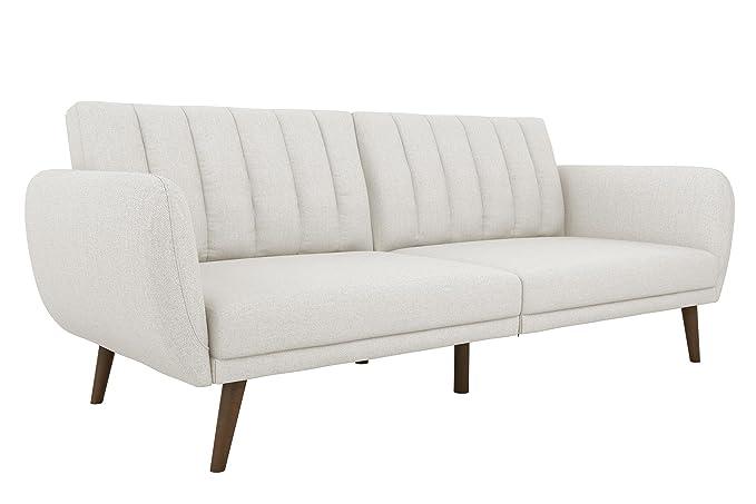 Novogratz Brittany Sofa Futon, Premium Linen Upholstery And Wooden Legs, Grey Linen by Novogratz