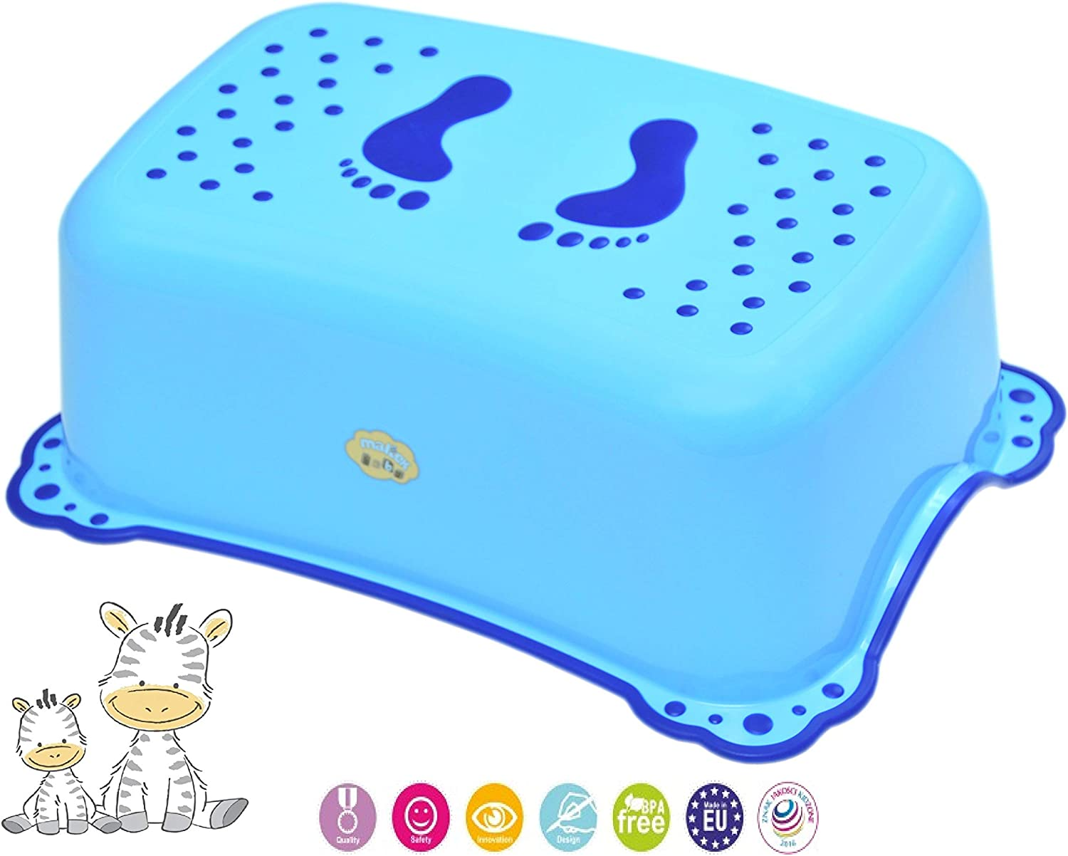 Lightweight Safety Step Height Stool for Baby Kids Toddler for Potty Training Toilet Kitchen Bathroom with Anti-Slip Blue