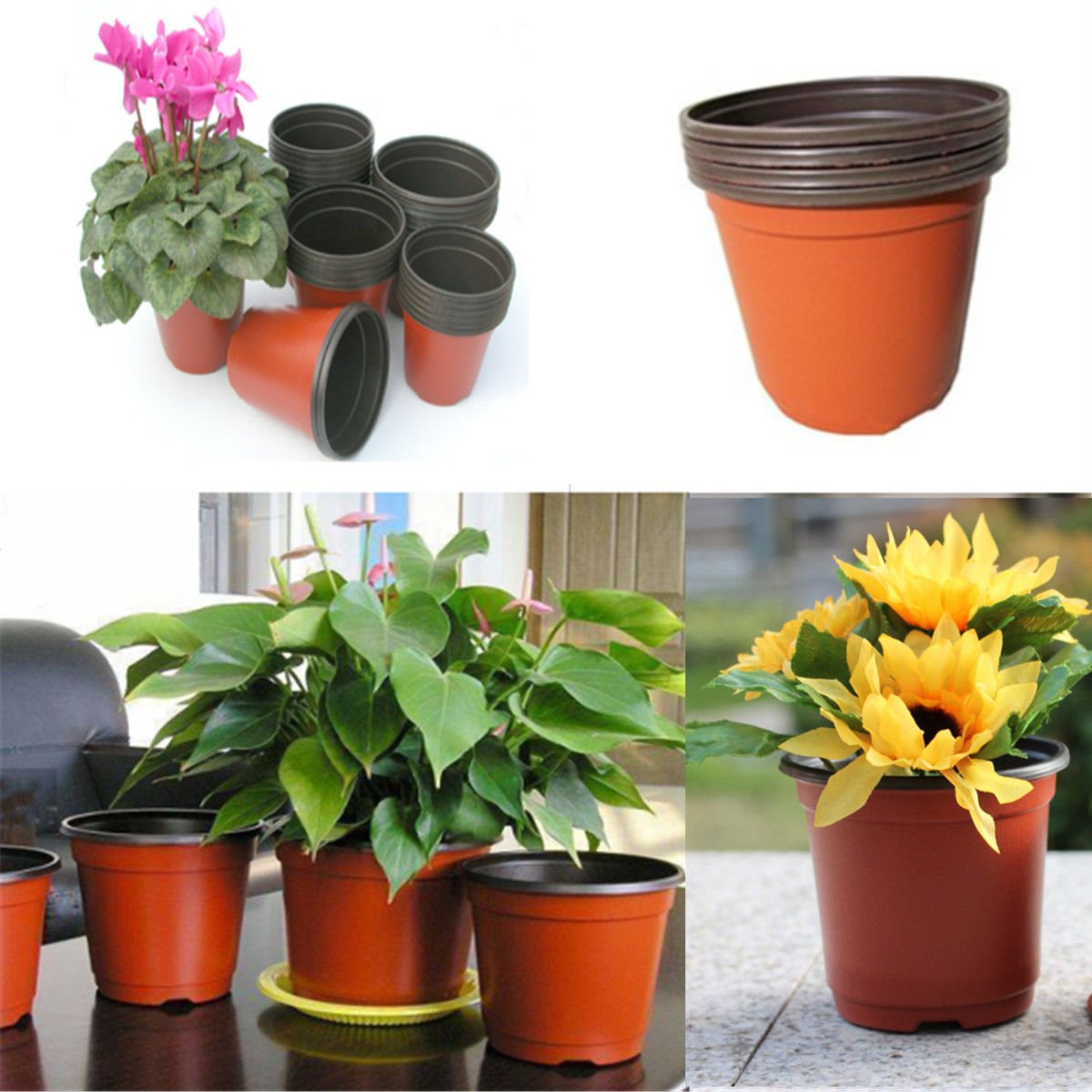 LOT of 100 Plastic Flower Nursery Pots Round Home Garden Pots Planter Planting Decor Clay Color 3.75 Inches X 2.80 Inches High
