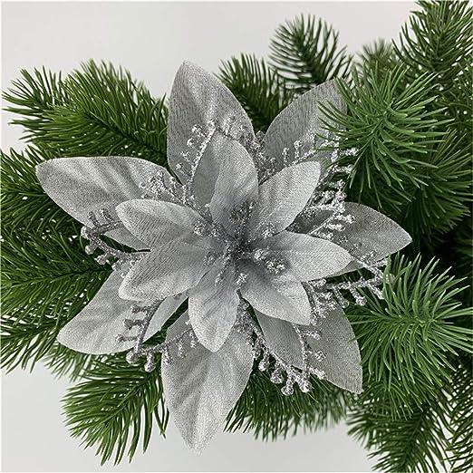 5PCS Artificial Shining Fake Poinsettia Flower Christmas Tree Hanging Home Decor