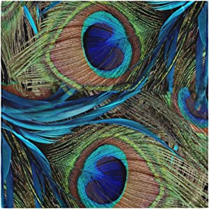 Naanle Peacock Cloth Napkins Dinner Table Napkins Set of 4, Peacock Feather Solid Washable Reusable Polyester Napkins with Hemmed Edges for Home Holiday Party Wedding Oversized 20 x 20 in
