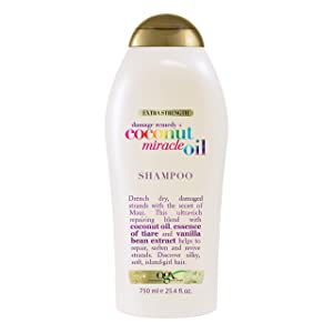 OGX Extra Strength Damage Remedy + Coconut Miracle Oil Shampoo for Dry, Frizzy or Coarse Hair, Hydrating & Flyaway Taming Shampoo, Paraben-Free, Sulfate-Free Surfactants, 25.4 Fl Oz