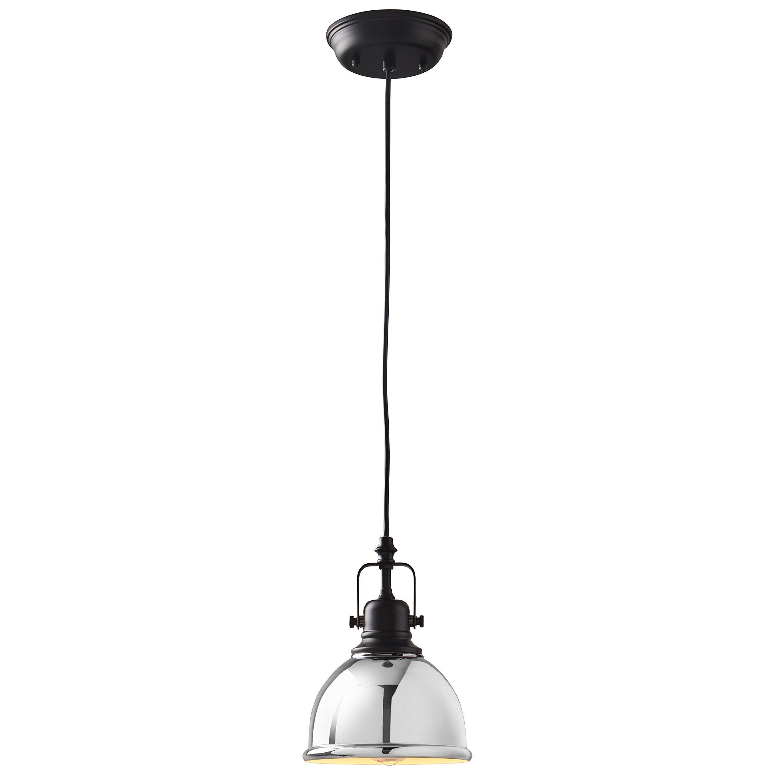 Stone & Beam Modern Pendant With Bulb, 10''-58''H, Chrome and Black