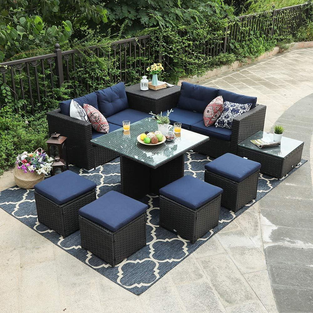 PHI VILLA Outdoor Patio Furniture Set- Outdoor Sofa (9-Piece, Sofa, Table and Stools)
