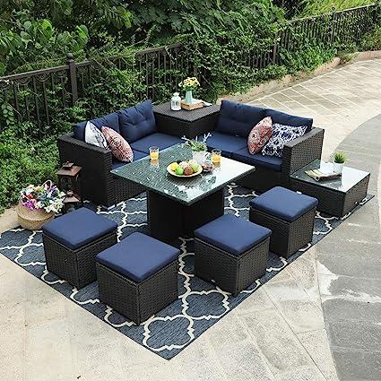 Amazon.com: PHI VILLA Juego de sofá de patio con caja de ...