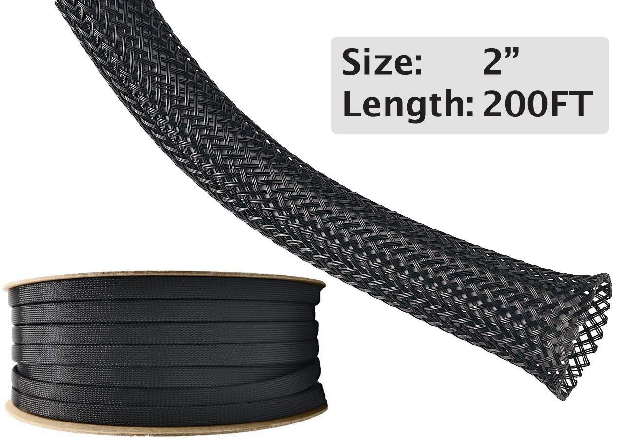 Electriduct 2'' PET Expandable Braid Sleeving Flexible Wire Mesh Sleeve - 200 Feet - Black