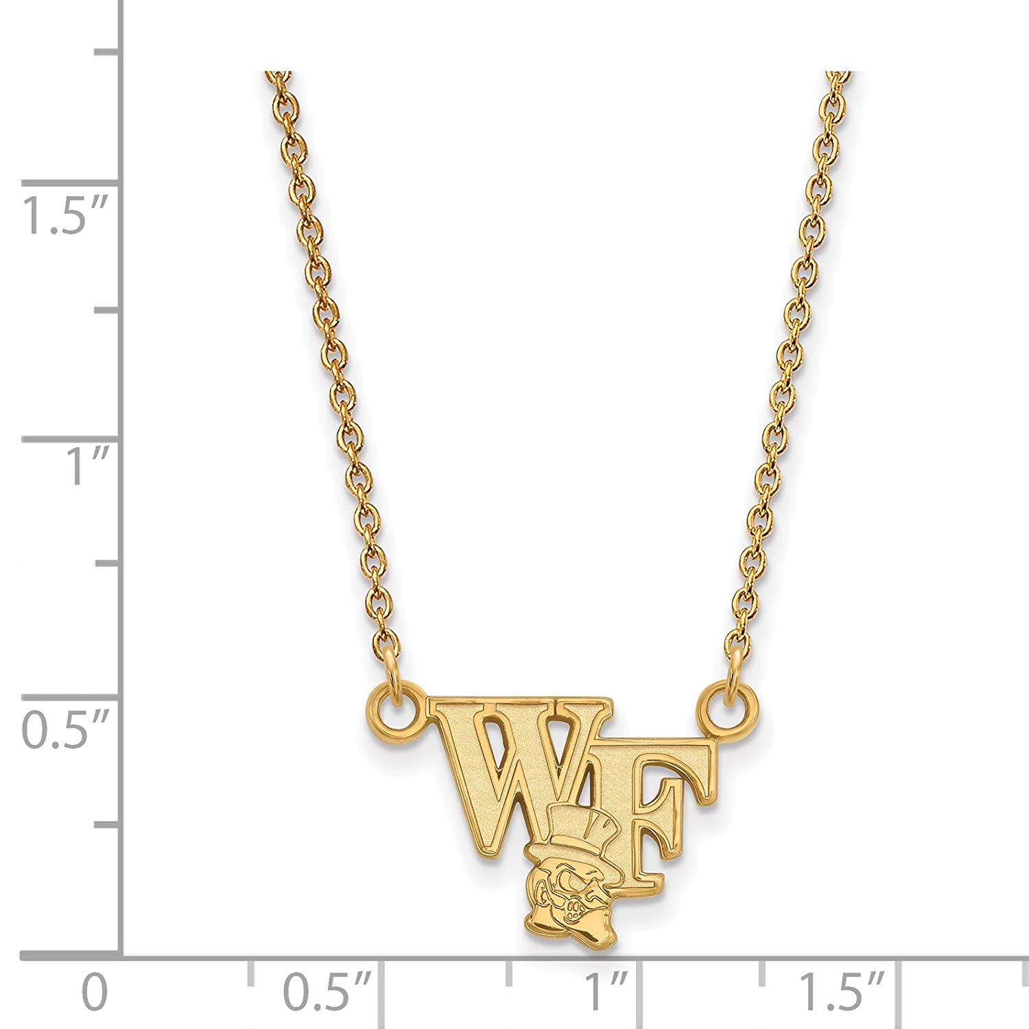 10k Yellow Gold Wake Forest University Demon Deacons Mascot Pendant Necklace 12x13mm 18 Inches