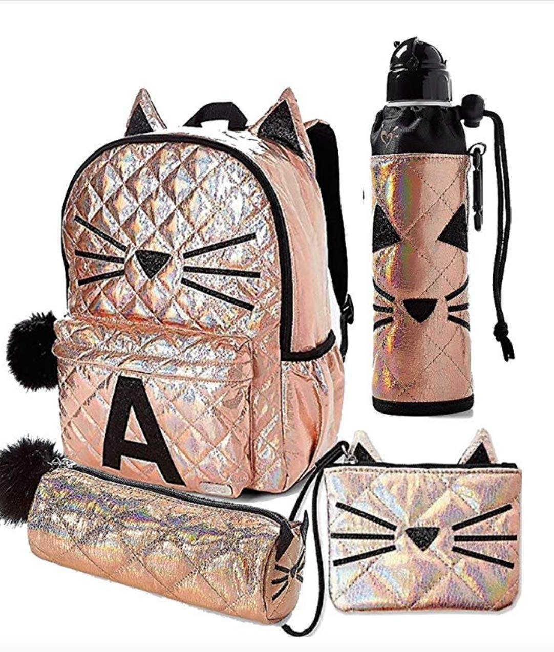 E Wristlet /& Round Pencil Pouch Rose Gold Quilted Cat Justice Set of 4 Letter Initial School Backpack Water Bottle