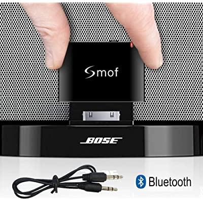 Smof Lite 30 Pin Wireless Audio Receiver for Sounddock,30 Pin Bluetooth Adapter Replace for iPod/Phone Link Bose/JBL/Car, 3.5 mm AUX Output-Female: Home Audio & Theater