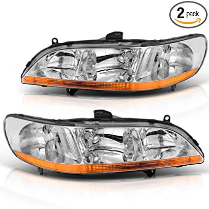 Headlights Assembly For 1998 2002 Honda Accord Chrome Housing Headlamp Replacement Driver And Passenger Side