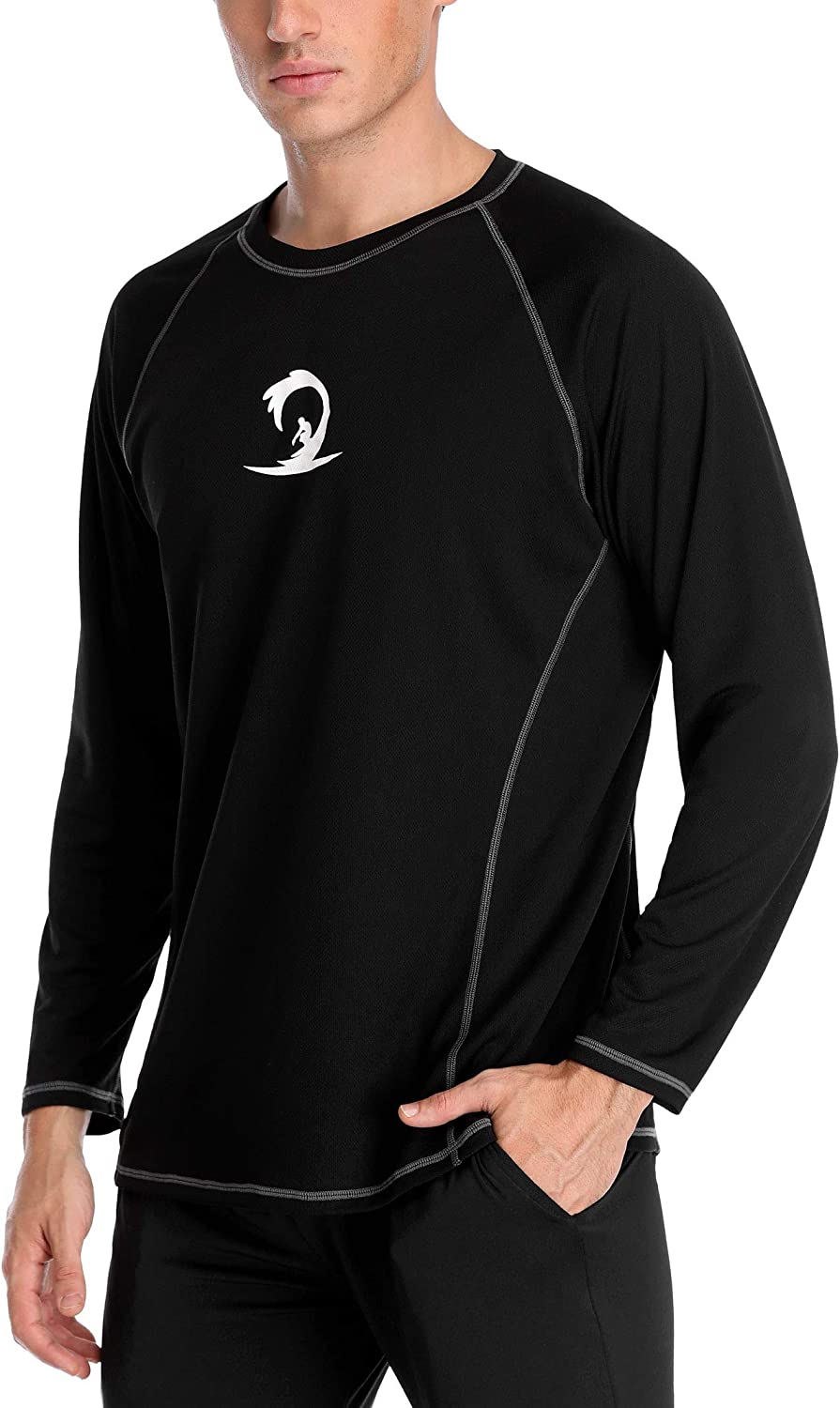 ALove Men Long Sleeve Rash Guard Quick Dry Swim Shirts Sun Protection Athletic Top