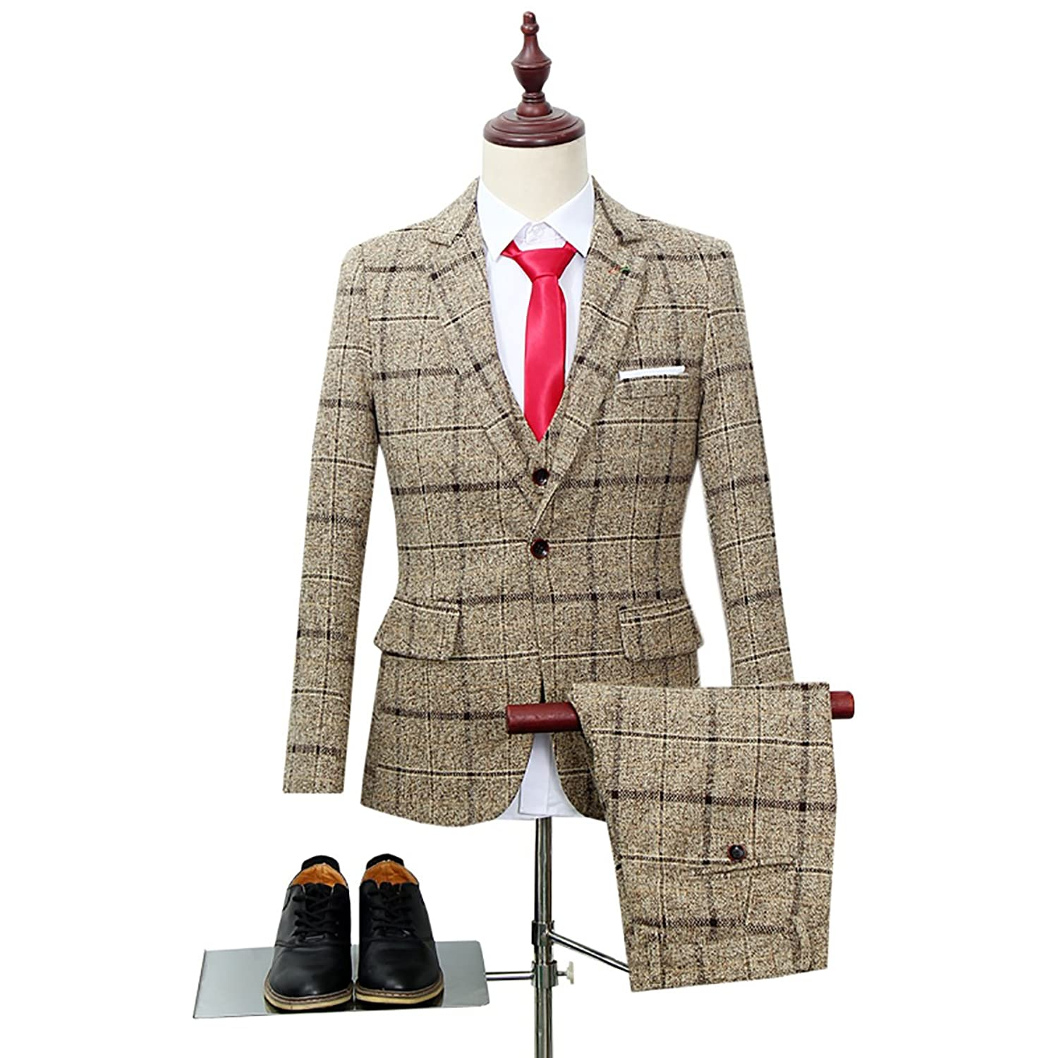 Retro Clothing for Men | Vintage Men's Fashion Cloudstyle Mens 3-Piece Suit Plaid Slim Fit One Button Single-Breasted Wedding Blazer  AT vintagedancer.com