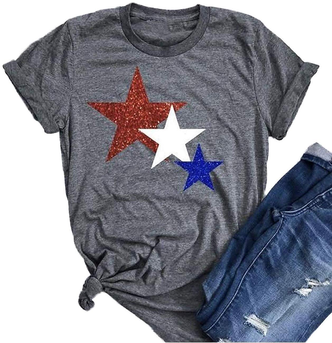 e2cf1932 American Flag Glitter Stars Shirt 4th July USA Flag Patriotic Short Sleeve  Loose Casual Graphic Tee Tops