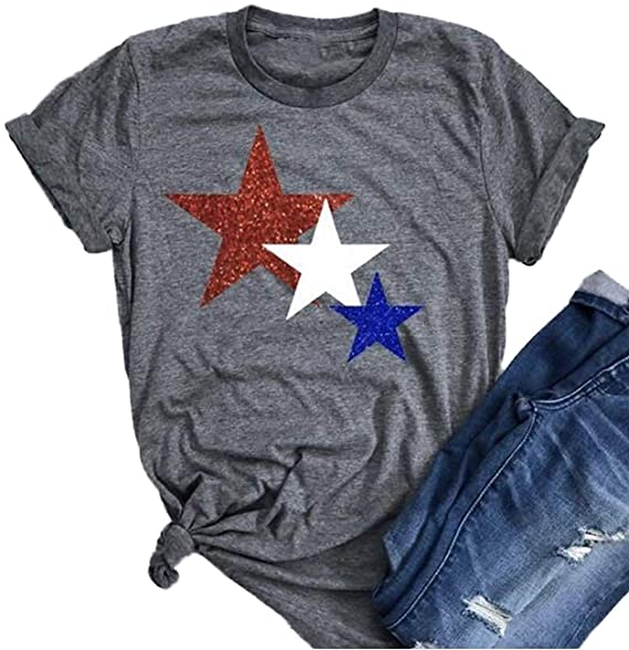 2afa9838df0d Amazon.com: American Flag Glitter Stars Shirt 4th July USA Flag Patriotic  Short Sleeve Loose Casual Graphic Tee Tops Size S (Gray): Clothing