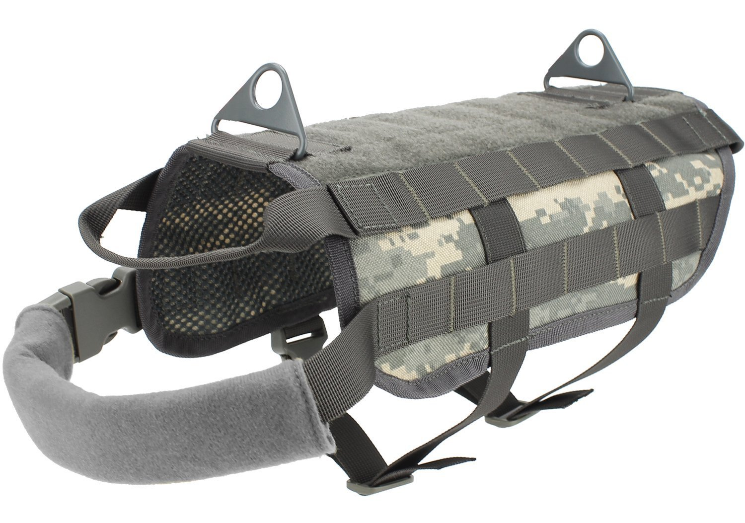 LOOGU Military Tactical Pet Dog Puppy Molle Vest Harnesses 1000D Nylon Anti Anxiety and Stress Relief Calming Vest for Dogs