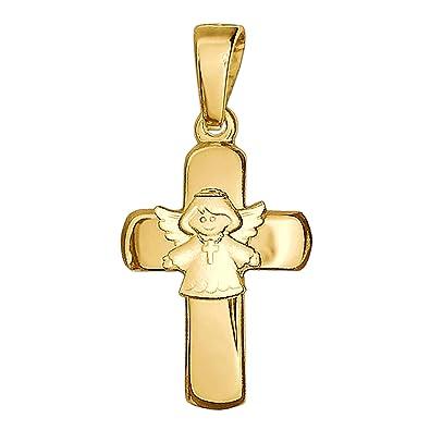Clever Schmuck Goldener Kinder Anhänger Kreuz 15 Mm Glänzend Mit Aufgesetztem Engel Kreuzkette Tragend Seidenmatt 333 Gold 8 Karat