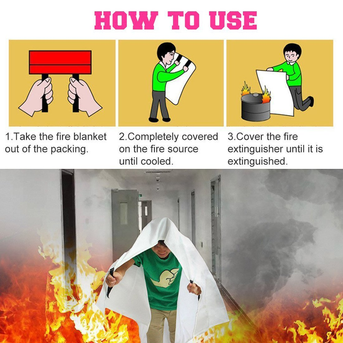 autom/óvil Camping Chimenea 1.2x1.8m Parrilla Lonnsaffe Mantas ign/ífugas Manta ignifuga Manta de Emergencia contra Incendios Manta de Supervivencia Cubierta de Seguridad Ideal para Cocina