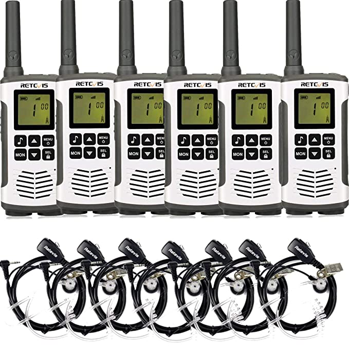 Retevis RT45 Walkie Talkies Long Range LCD Screen Dual Watch Dual Power VOX Call Reminder Private Code Flashlight Two Way Radio with Headsets (6 Pack)
