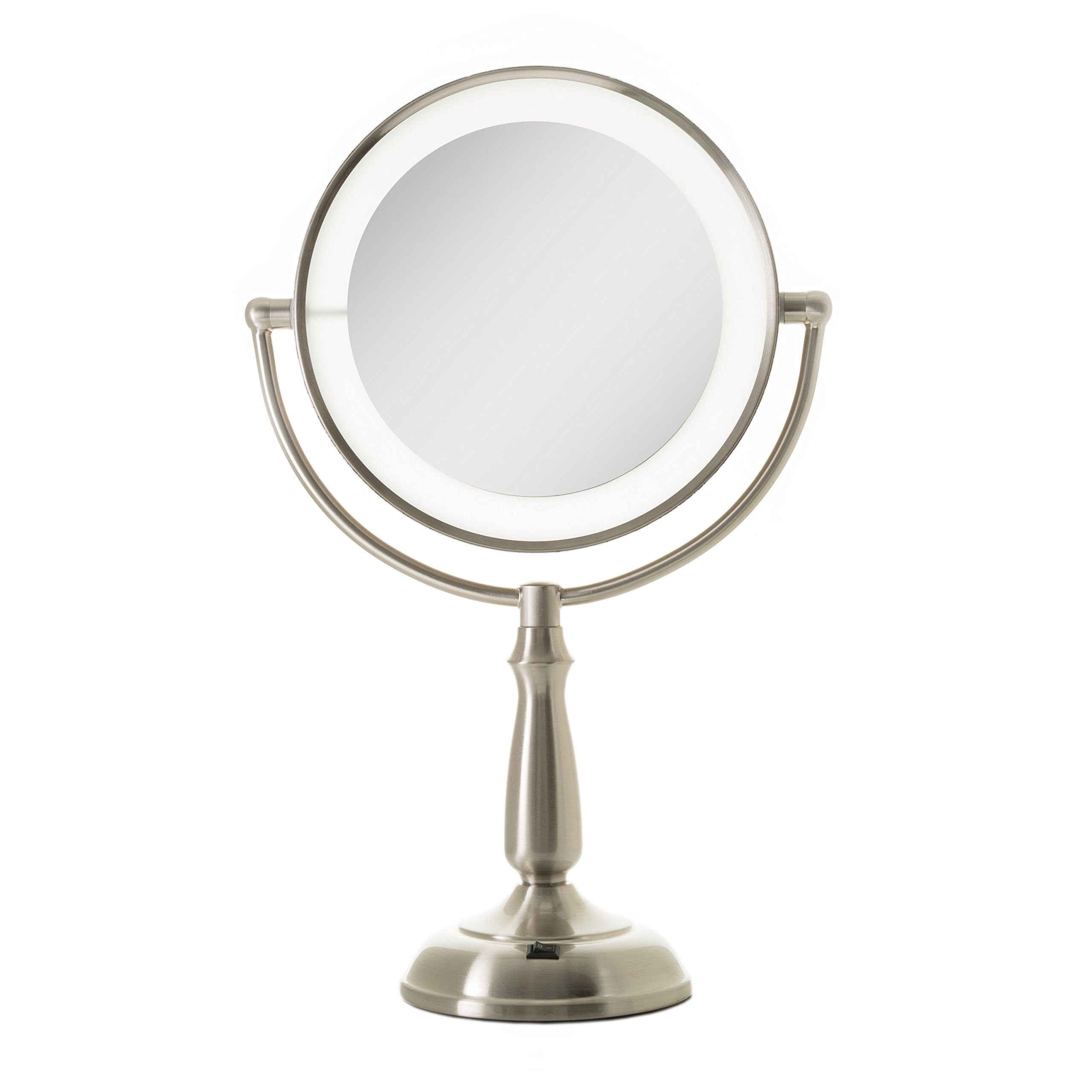 Zadro Dimmable Touch Ultra Bright Dual-Sided LED Lighted Vanity Make Up Mirror with 1X & 5X magnification in Satin Nickel Finish