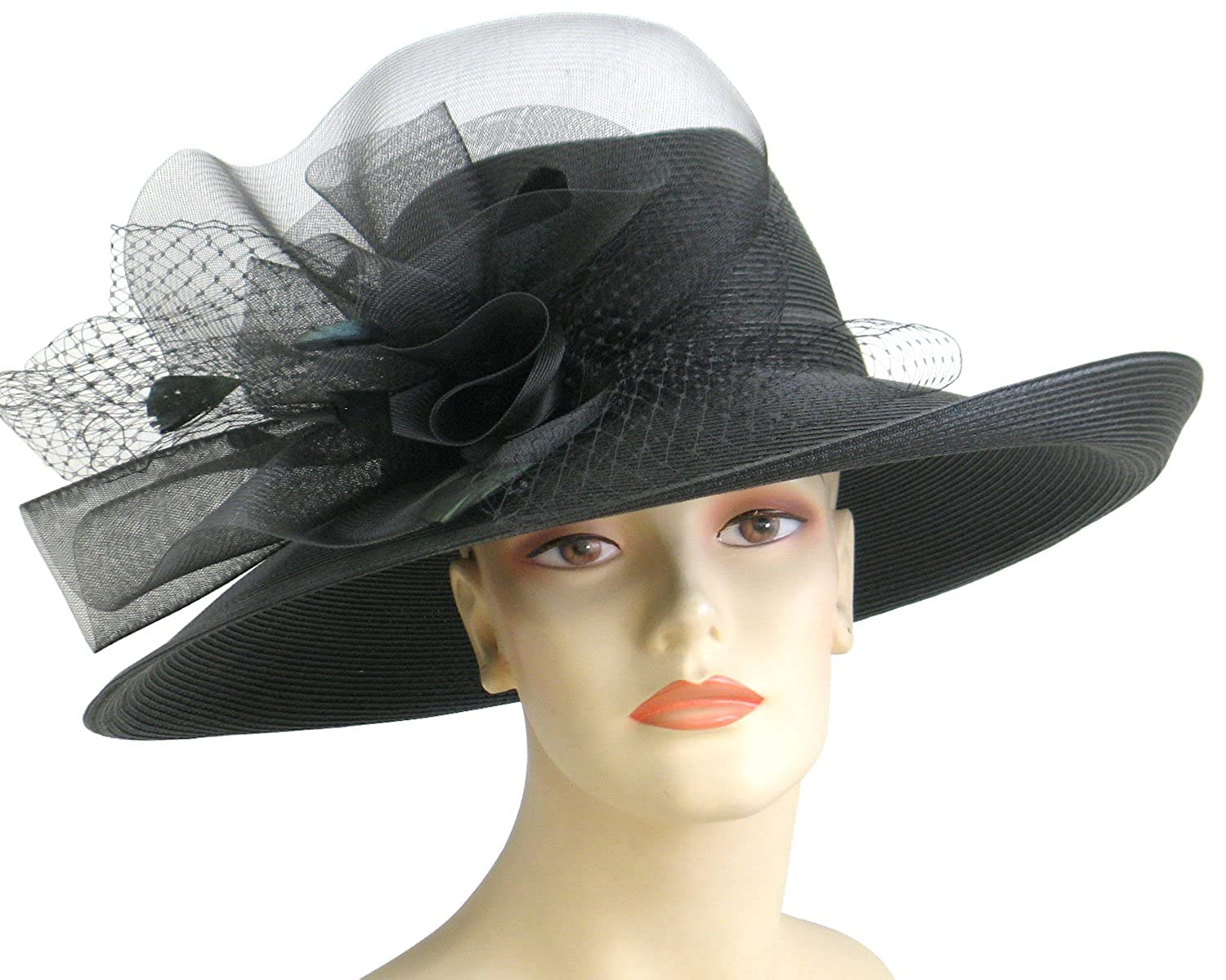 3c5bc848181d6 Ms Divine Womens Wide Brim Straw Church Kentucky Derby Hats Dressy Formal  Hats  21524 ... at Amazon Women s Clothing store