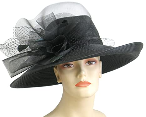 9a8f4c42 Ms Divine Womens Wide Brim Straw Church Kentucky Derby Hats Dressy Formal  Hats #21524 ... at Amazon Women's Clothing store: