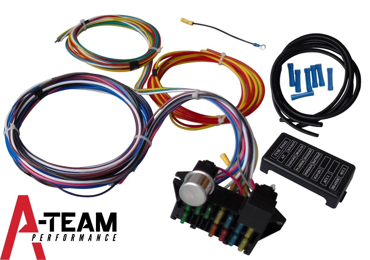A Team Performance 12 Circuit Universal Wire Harness Rat Rod Fuse Box Muscle Car Hot Street New Xl Wires Automotive