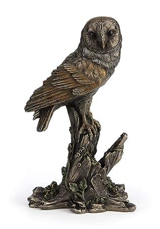 Barn Owl Perched on Tree Stump Figurine