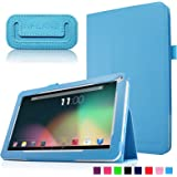 "Infiland Folio PU Cuero Funda Cascara Delgada con Soporte para 10,1 Pulgadas Dragon Touch A1X Quad Core Tablet PC,JYJ 10"" Pulgadas Tablet PC, AcePad SuperPad XT2 10"" Pulgadas Tablet PC, Tabexpress (10 Pulgadas) Tablet-PC, Polatab Elite Q10.1"", iStyle 2014 New 10.1"" Pulgadas(Consulte más modelos de tablet compatibles en la Descripción)(Azul Claro)"