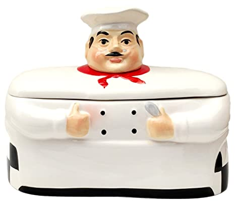 Fat Chef Breadbox Toast Jar Canister Bistro