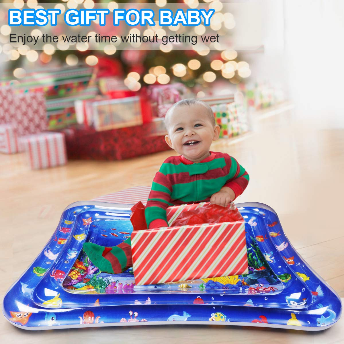 Wassermatte Baby Dycsin Baby Spielzeug 3 6 9 Monate 120 100CM Wasserspielmatte Baby Tummy Time Mat BPA-frei Baby Spielzeug Aufblasbare Wassermatte F/ür Babys