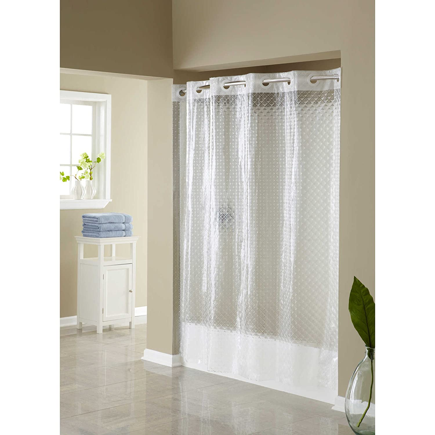 Hookless Clear Shower Curtain.Hookless Hangs In Seconds Eva Shower Curtain Clear Diamond