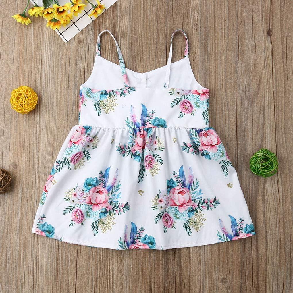 Infant Toddler Kids Baby Girl Print Sleeveless Princess Strappy Dress Sundress