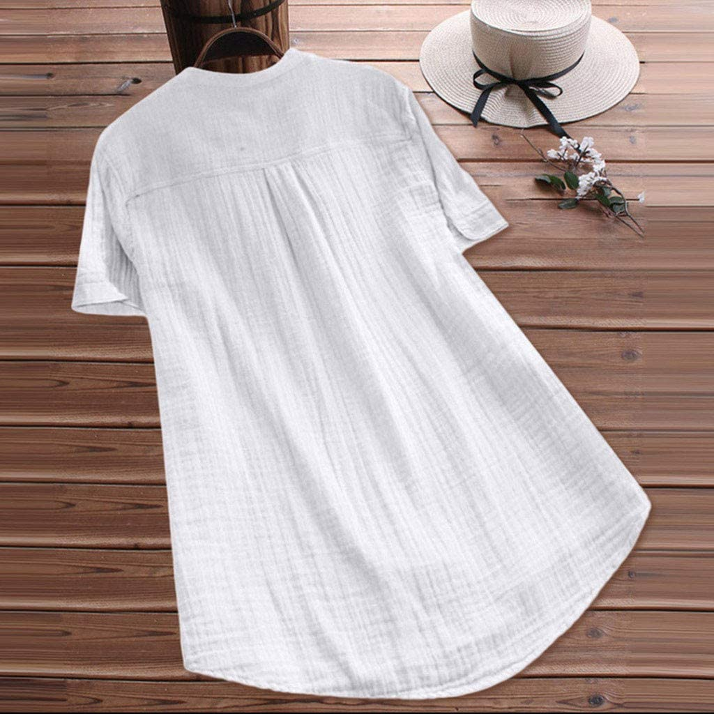 Sharemen New Women Stand Collar Short Sleeve Casual Cotton Loose Soft Tunic Tops T Shirt Blouse Plus Size