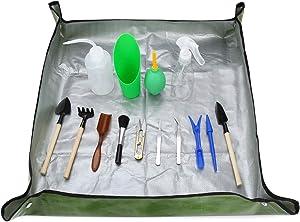 G GOOD GAIN Succulent Plant Tools Kit with Work Mat,15 pcs Mini Garden Hand Tools Set,Succulent Transplanting Tool, Indoor Gardening Succulent Bonsai Planter Set,Miniature Indoor Fairy Planting Care