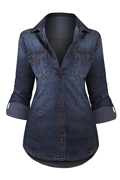 05f390564 Hot From Hollywood Women's Button Down Roll Up Sleeve Classic Denim Shirt  Tops: Amazon.ca: Clothing & Accessories