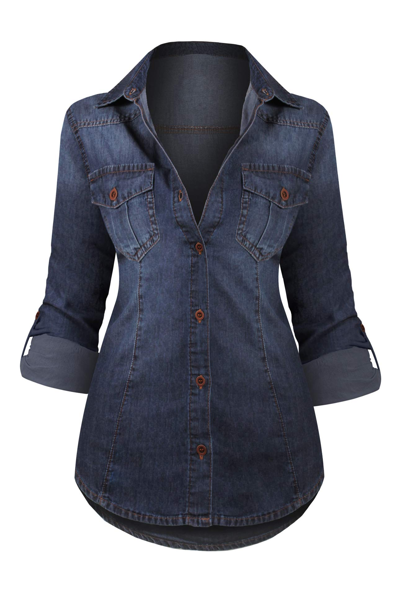 HOT FROM HOLLYWOOD Women's Long Sleeve Western Button Up Casual Fitted Denim Washed Tunic Top,Dark Denim_dj101,XX-Large