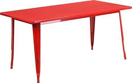 Amazon Com Flash Furniture Commercial Grade 31 5 X 63 Rectangular Red Metal Indoor Outdoor Table Furniture Decor