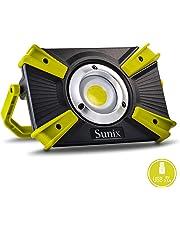 Sunix Faro Luce LED Portatile 20W, Proiettore Ricaricabile con Cavo USB LED Esterni 1600LM 4400mAh con Batteria Ricaricabile Integrata, Lavoro Luce da Campeggio Lamp Doppia Porta USB e modalità SOS