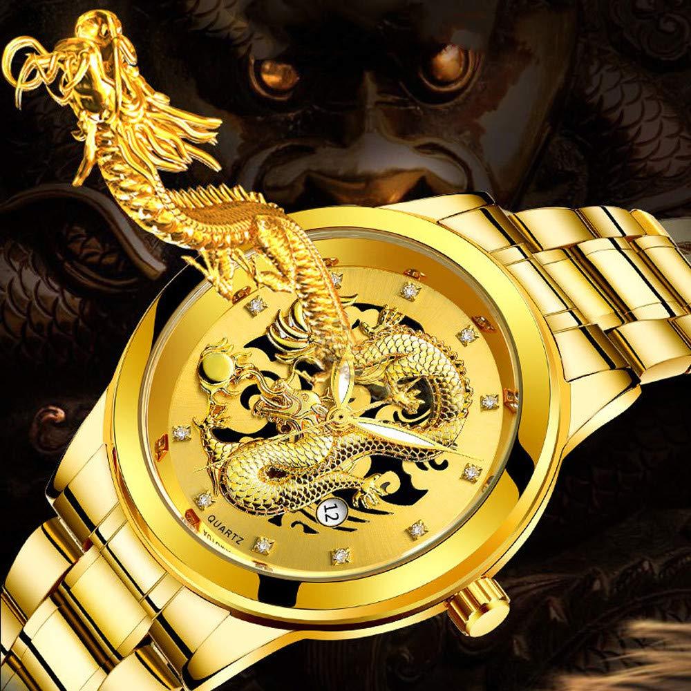 Chirpa Waterproof Mens Gold Dragon Sculpture Quartz Watch Luxury Mens Steel Wristwatch