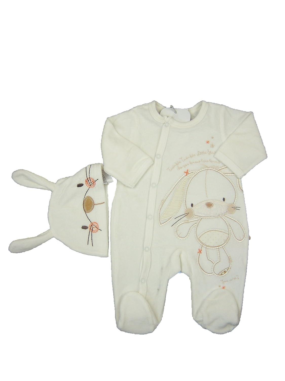 51c58d016 Baby Unisex Velour Sleepsuit and Hat Set Bunny Stars (Newborn)