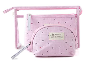 9635fb88e6cc Amazon.com   Zhoma 3 Piece Cosmetic Bag Set - Makeup Bags And Travel Case -  Light Purple   Beauty