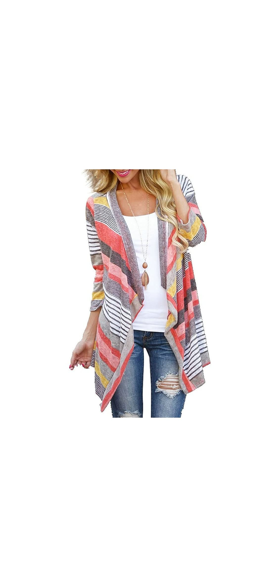 Women's / Sleeve Cardigans Striped Printed Open Front