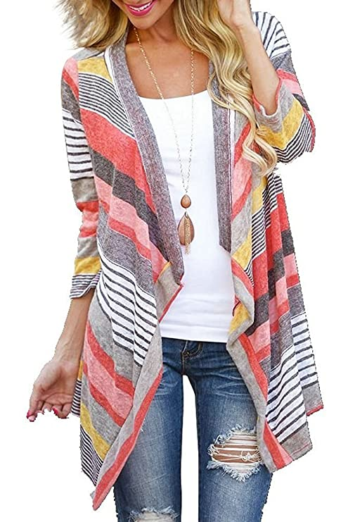Women's 3/4 Sleeve Cardigans Striped Printed Open Front Draped Kimono Loose Cardigan Red Large best kimono tops
