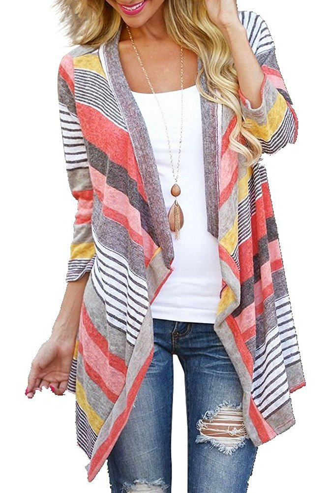 DEARCASE Women's 3/4 Sleeve Cardigans Striped Printed Open Front Draped Kimono Loose Cardigan (X-Small, Red)