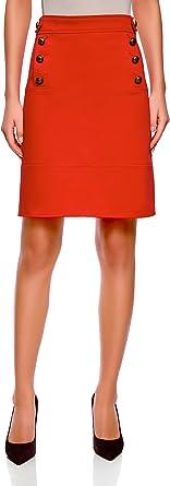 oodji Collection Mujer Falda Recta con Botones Decorativos ...