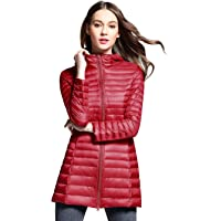 6d179fc30cb4 Sunseen Women s Puffer Jacket Lightweight Thin Long Down Coat Hooded  Packable Spring Outdoor Sports Slim Parka