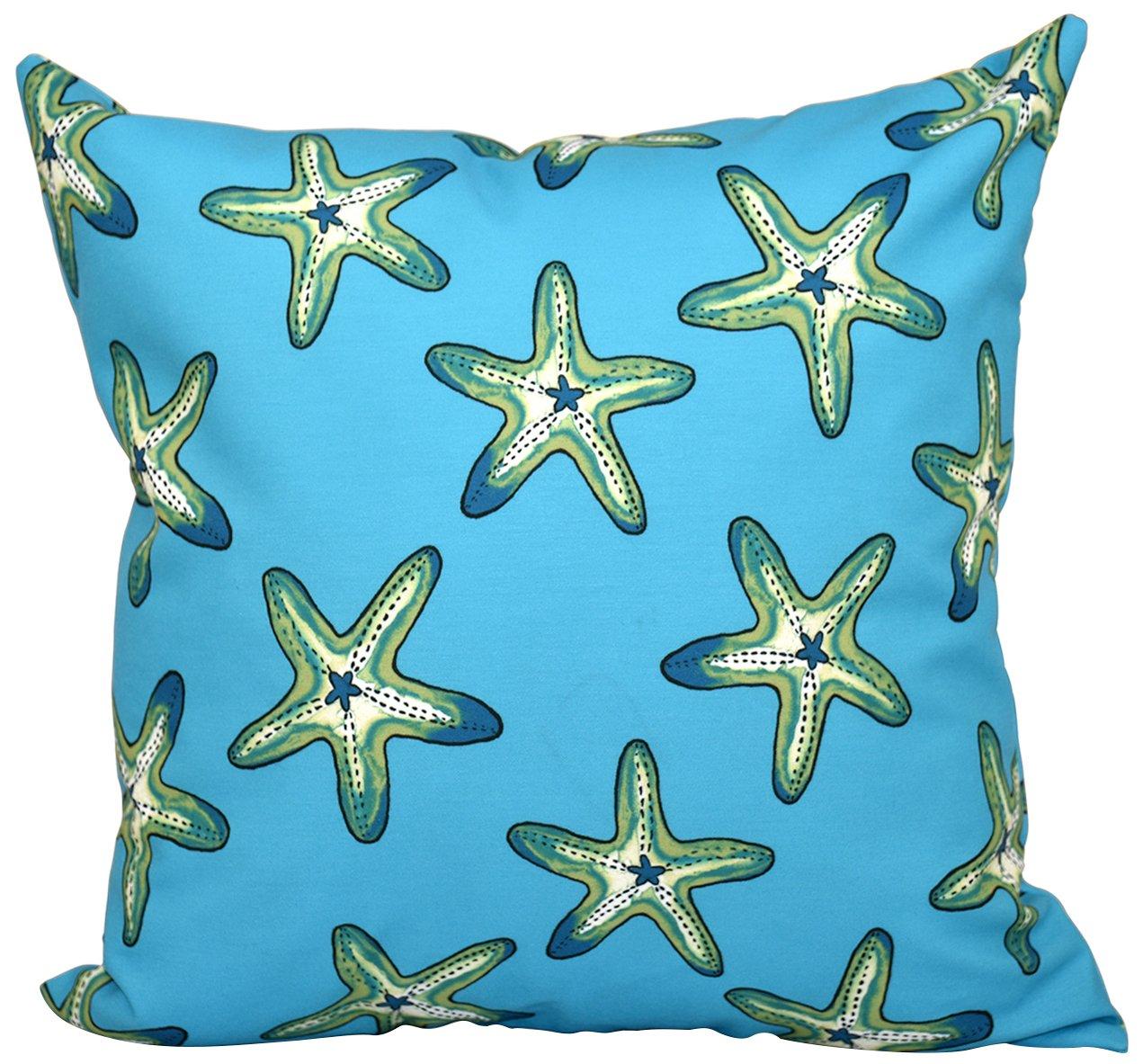 E by design PGN474BL27GR17-26 26 x 26 inch Geometric Print 26x26 Blue Soft Starfish